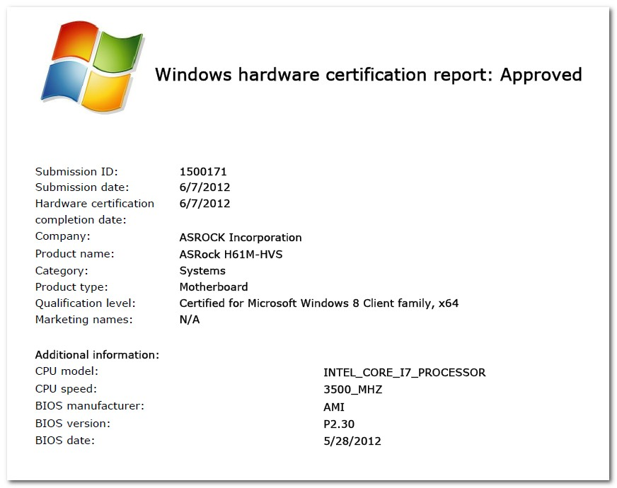 ASRock Gets Windows 8 Motherboard Certification