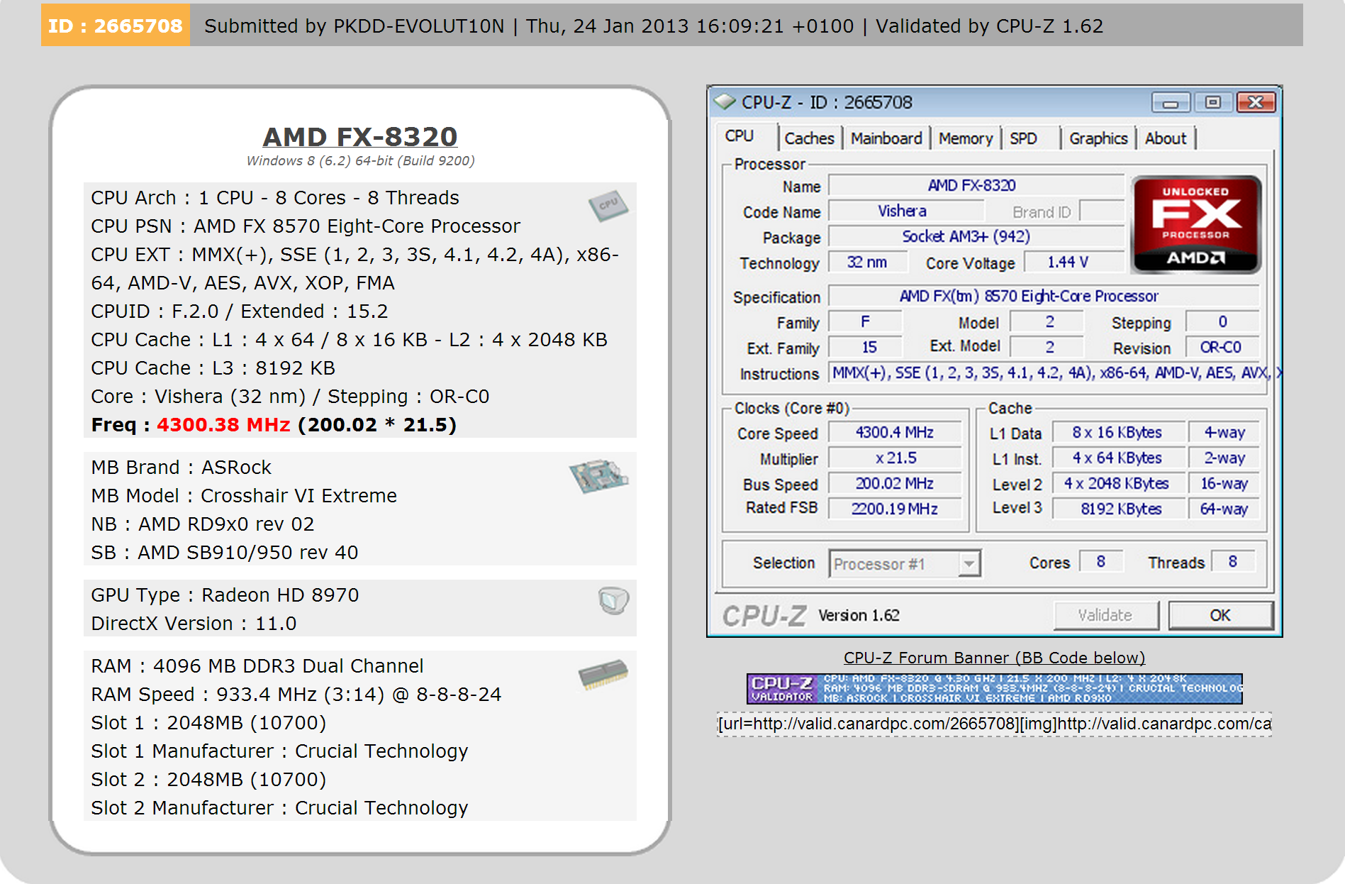 AMD FX 8570 & Radeon HD 8970 Spotted in CPU-Z Database