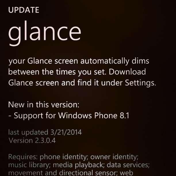 Nokia Glance updated for Windows Phone 8.1